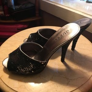 Guess sequin party mule heels size 7.5